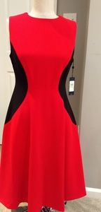 TH Red dress w/ black side accents.